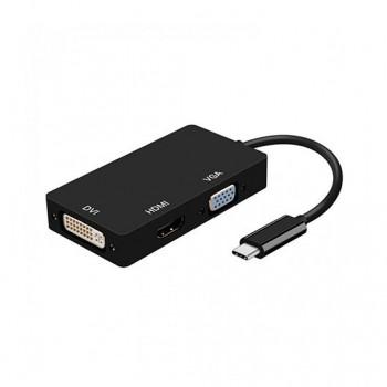 ADAPTADOR USB C A DVI HDMI VGA AISENS NEGRO