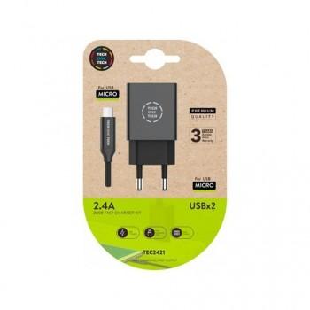 CARGADOR DOBLE CABLE MICRO USBB TECH ONE TECH 1M NEGRO