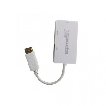 ADAPTADOR DISPLAY PORT A VGA DVI HDMI APPROX APPC37 BLANCO