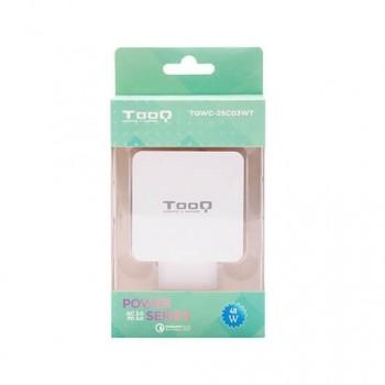 CARGADOR DOBLE USB C PD USB A QC30 TOOQ BLANCO