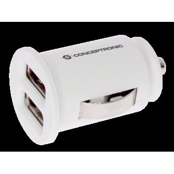 CARGADOR 2X USB POWER2GO COCHE BLANCO