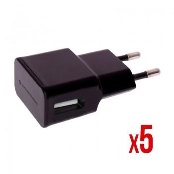 CARGADOR 5V USB POWER2GO PARED NEGRO PACK 5