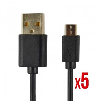 CABLE POWER2GO USB A A MICRO USB 1M NEGRO PACK 5