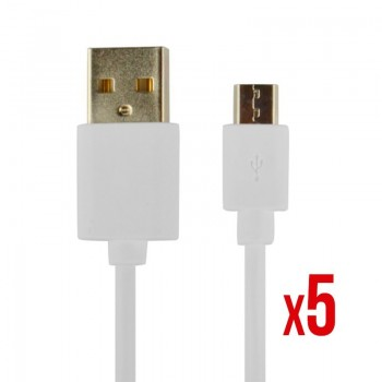 CABLE POWER2GO USB A A MICRO USB 1M BLANCO PACK 5