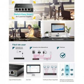 Switch TP-Link Easy Smart TL-SG105E 5 Puertos/ RJ-45 10/100/1000 - Imagen 4