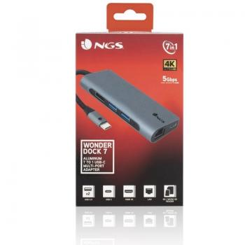 Hub USB 3.0 Tipo-C NGS WonderDock7/ 2 Puertos USB/  1 USB Tipo-C/ 1 HDMI/ 1 RJ45/ 1 Lector Tarjetas SD - Imagen 5