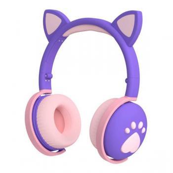 Auriculares Inalámbricos Niñ@s Bluetooth Orejitas con Huella Violeta - Imagen 1