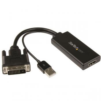 Adaptador de Vídeo DVI a HDMI con Alimentación USB y Audio - 1080p - Imagen 1