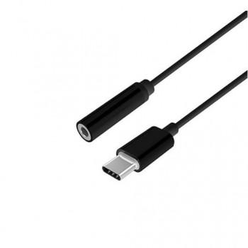 ADAPTADOR USB C M A JACK 35 H AISENS 15CM NEGRO
